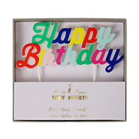 Multi Coloured Happy Birthday Candle