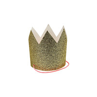 Mini Gold Glittered Crowns-8set